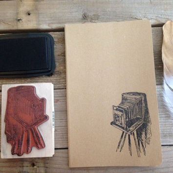 antique camera hand stamped cahier journal