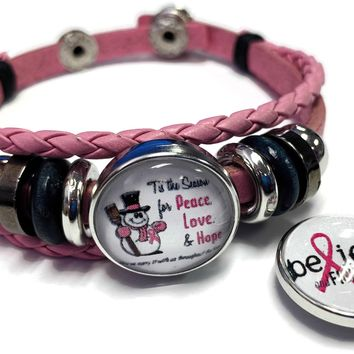 Tis The Season Breast Cancer Awareness Snaps On Pink Leather Bracelet W/2 Snap Jewelry Charms New Item