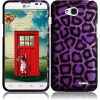Rubberized Plastic Purple Leopard Hard Cover Snap On Case For LG Optimus L70