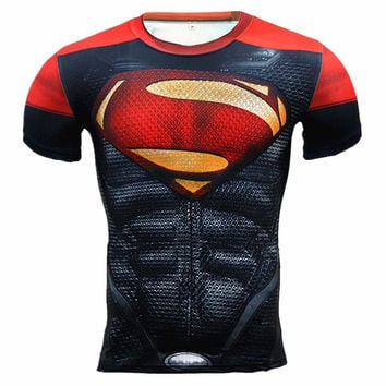 Summer 2016 Latest Men's Compression Shirt Fitness Superman Punisher 3D T Shirt Men Bodybuilding Base Layer Crossfit T-Shirt