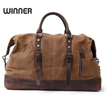 Vintage Military Canvas Leather Big Duffle Bag Men Travel Bags Carry on Traveling Luggage bags Large Road Weekend Women Tote Bag