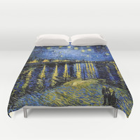 Vincent Van Gogh Starry Night Duvet Cover by PureVintageLove