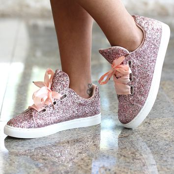Sequin Tennis Shoe with Ribbon