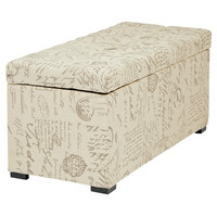 Office Star Sahara Tufted Storage Bench (Script Fabric) [SAH3917-S13]