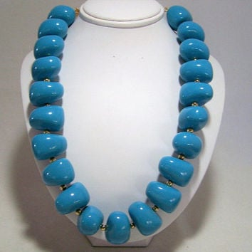 Kenneth Jay Lane Lucite Faux Turquoise Chunky Bead Necklace, NIB, Gold Tone Clasp, Boho Festival,  Vintage Jewelry, Costume Jewellery  1216