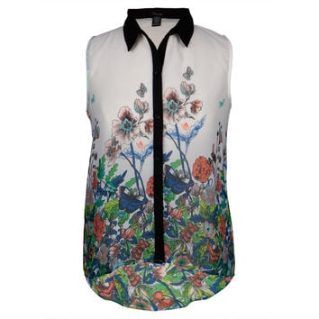 Butterflies Floral Print Women's Sleeveless Button Up Blouse