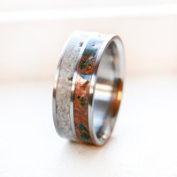 Mens Wedding Band - patina copper and antler titanium Mens Ring