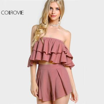 COLROVIE Layered Flounce Sexy 2 Piece Set Women Sweet Bardot Crop Top With Shorts Set 2017 Ruffle Pleated Zip Up Two Piece Set