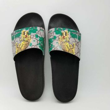 Gucci Casual Fashion Men Tiger Floral Print Sandal Slipper Shoes
