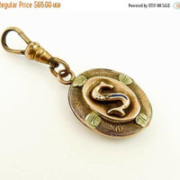 Antique Victorian 10k Gold Watch Fob Rose &  Green Gold Monogram S