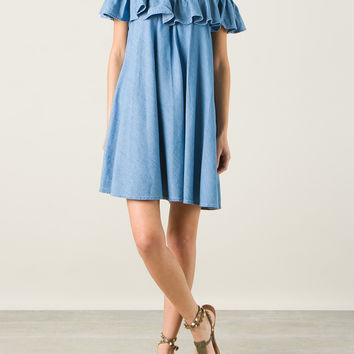 ALEXA CHUNG FOR AG JEANS THE HONEY RUFFLE DENIM MINI DRESS