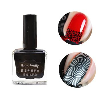 1pc 15ml Born Pretty Black Nail Stamping Polish Newly Nail Polish Nail Art Stamp Color#3 #22322