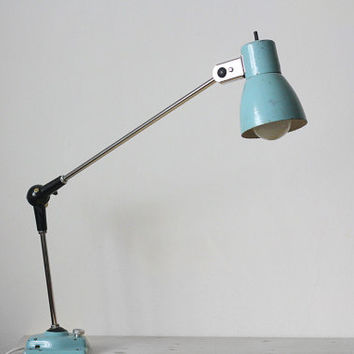 Industrial Articulated Work Lamp / Architect Desk Table Light Lighting - Bleu Ciel - Canada - 60s