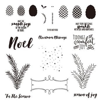 Merry Christmas 14*14cm Pine Cone Frame Rubber Stamping 3D DIY Scrapbooking Craft Embossing Stamps Stencil Folder Photo Card