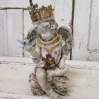Distressed angel cherub statue with handmade crown French shabby hand painted aged patina home decor anita spero
