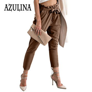 AZULINA Chiffon Palazzo Pants Ladies High Waist Casual Harem Pants Women Summer Trousers Khaki Work Office Formal Pants Female