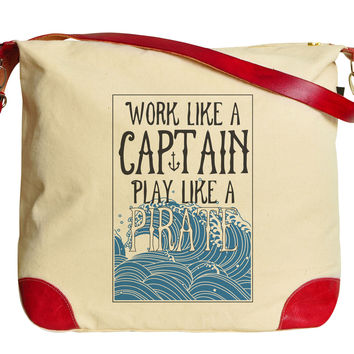 Work Like A Captain Play Like A Pirate Beige Printed Canvas Shoulder Bags WAS_33