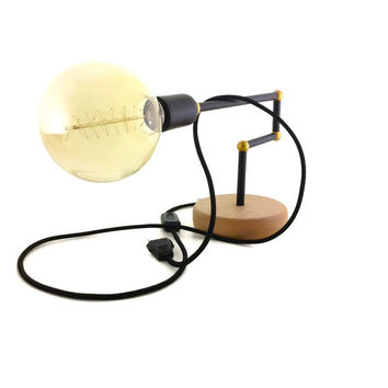 Handmade Minimal Wooden Table Lamp Black and Gold Lamp Wooden Handmade Lights Geometric Table Lamp Table Lights Wood Lighting Edison