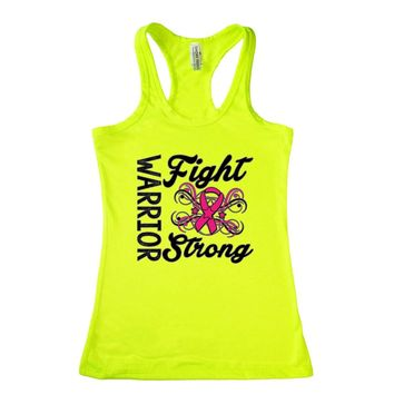 Women's Warriors Fight Strong Breast Cancer Awareness Racerback TANK TOP LIME