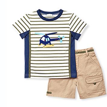 Stripe Helicopter Shirt with Twill Shorts
