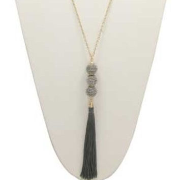 //Grey Tassel Necklace//