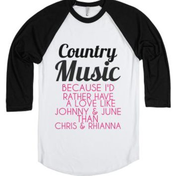 Country Music-Unisex White/Black T-Shirt