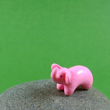 Little Pink Elephant  Hand Sculpted by MadeWithClayAndLove on Etsy