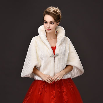 Fur Bolero Beaded 2016 Promotion Wedding Bolero Accessories Fast Delivery New Cheap Faux Shawl Winter Cape Bridal Jackets P108