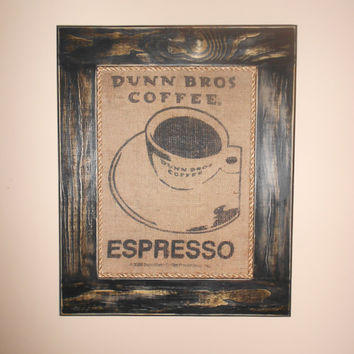 Framed Espresso Coffee Cup Dunn Bros burlap Bag Art