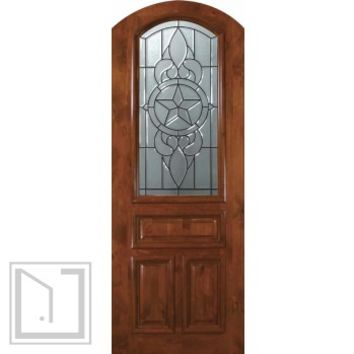 Slab Single Door 96 Wood Alder Brazos Arch Top Arch Lite Glass