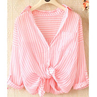 LOOSE VERTICAL STRIPES LAPEL LONG SLEEVE SHIRTS
