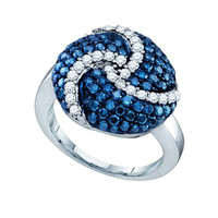 Blue Diamond Ladies Fashion Ring in 10k White Gold 1.55 ctw