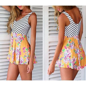 PRINTED STRIPE SPLICING SEXY V-NECK SLEEVELESS BACKLESS JUMPSUITS