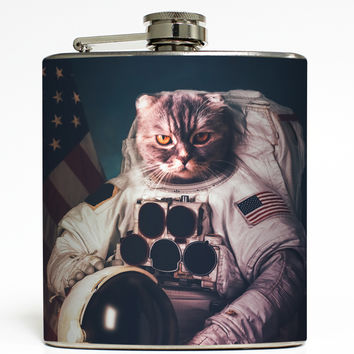 Cat Astronaut 3 - Funny Outer Space Flask