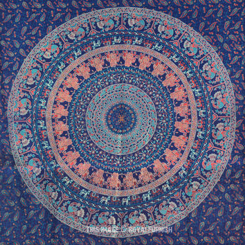 Blue Indian Boho Style Psychedelic Bohemian Tapestry, Mandala Wall Tapestry on RoyalFurnish.com