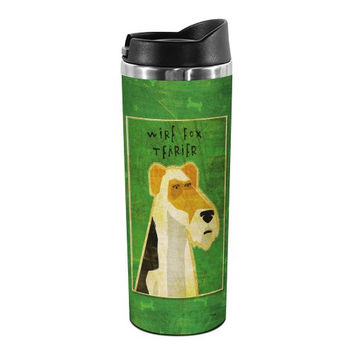 Tree-Free Greetings TT01992 John W. Golden 18-8 Double Wall Stainless Steel Artful Tumbler, 14-Ounce, Wire Fox Terrier