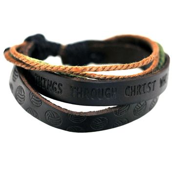 Phil 4:13 Volleyball Leather Bracelet