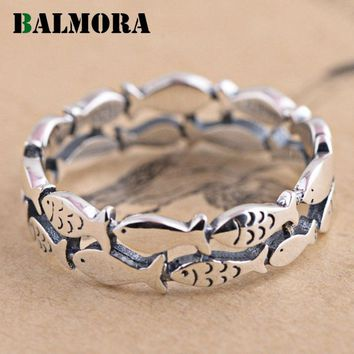 BALMORA Animal Ring 100% Real 990 Pure Silver Jewelry Cute Fish Rings for Women Men Party Gifts High Quality Bijoux SY21731