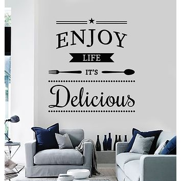 Vinyl Wall Decal Inspiring Phrase Enjoy Life Delicious Cafe Kitchen Stickers Mural (g2805)