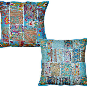 2pc Blue Large Vintage Embroidered Patchwork Pillow, Decorative Throw pillow cover, Indian Ethnic Outdoor Pillow tribal Handmade sofa pillow