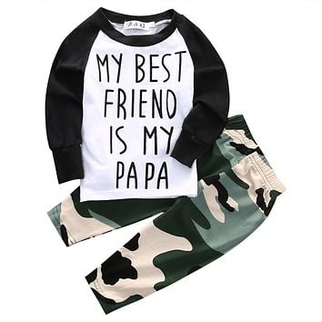 Hot Autumn Camouflage Letters Boys Set Newborn Baby Boys Toddler long sleeve T-shir Tops +Long Pants Outfits Set Clothes