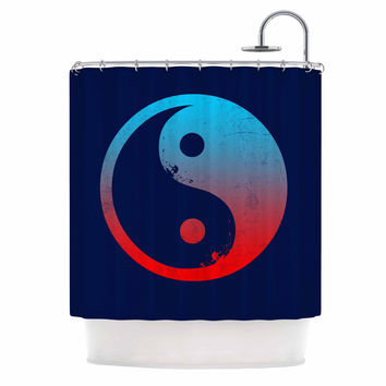 "Federic Levy-Hadida ""Ying Yang Surfers"" Red Blue Shower Curtain"