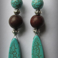 Turquoise Drop Earrings, Coffee Colored Turkey Turquoise, Blue Howlite Turquoise,Dangle Drops,  Festival Wear, Hippie, Calming, Simplicity