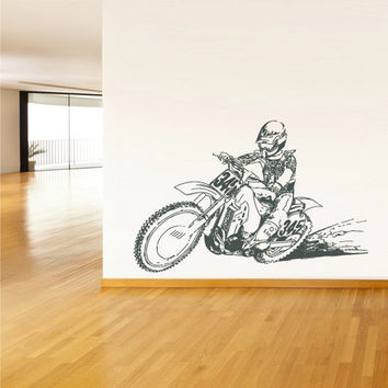 rvz1568 Wall Vinyl Sticker Decal Dirt Dirty Motocross Motorcycle Bike Motorbike