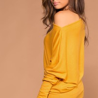 Ellison Off The Shoulder Mustard Knit Sweater Top