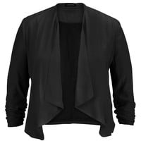 Plus Size - Black Drape Front Blazer With Cinched Sleeves - Black