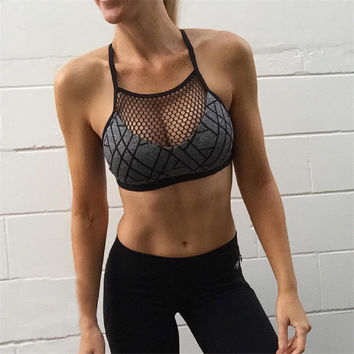 Backless Off Shoulder Gym Strap Strappy Bralette Seamless Sports Bra
