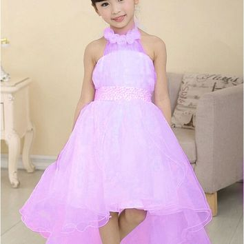 Nacolleo New Summer Baby Girls Party Dress Evening Wear Long Tail Girls Clothes Elegant Flower Girl Dress Kids Baby Dresses