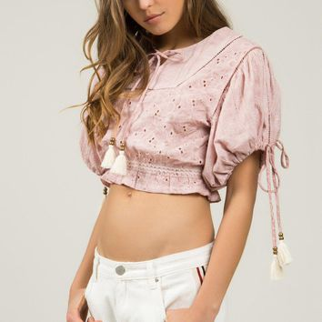 Boho Tassel Drawstring Crop Top