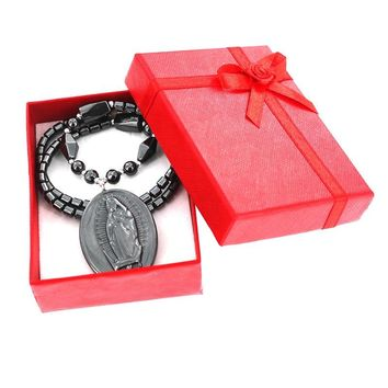 New Fashion Black  Blessed Virgin Mary Necklace with Gift Boxes Women Natural Stone Onyx Pendant Necklaces Friends Gift